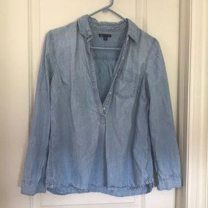 Gap chambray half-button shirt, size L